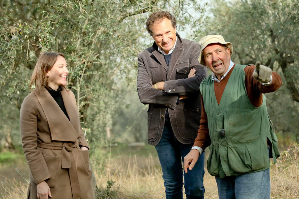 Joanne Lacina with Andrea Gradassi and local farmer Septimio in Spoleto, Umbria.